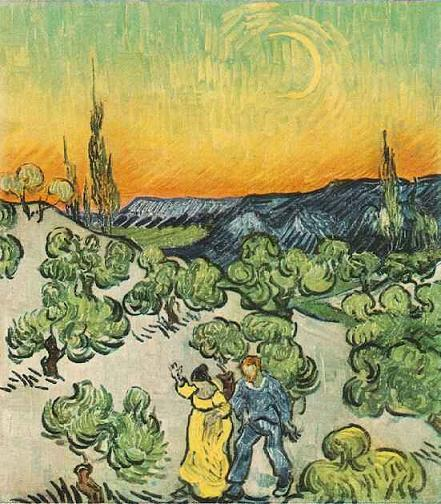 Painting : Landscape with Couple Walking and Crescent Moon . By  Vincent  van Gogh
